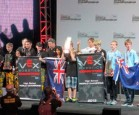World Champion VEX Robotics teams from Lynfield College and Otumoetai College.